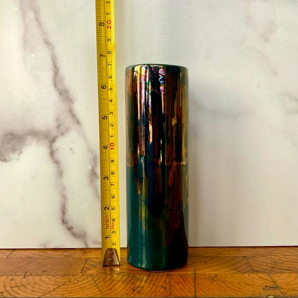 Vintage Iridescent Blue Gold Tubular Vase